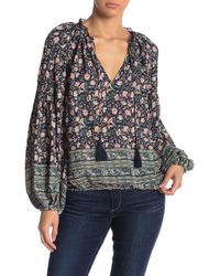 ee2a44dfff96d Lucky Brand - Tie Neck Patterned Peasant Blouse - Lyst