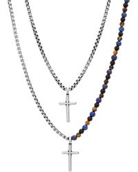 Steve Madden Beaded Double Layered Oxidize Double Cross Box Chain Necklace In Black At Nordstrom Rack
