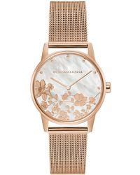BCBGMAXAZRIA Women's Flower Dial Mesh Strap Watch - Metallic
