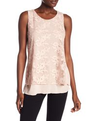 Cable & Gauge - Embroidered Mesh Overlay Tank Top - Lyst