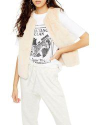TOPSHOP Luxe Faux Fur Vest - Natural