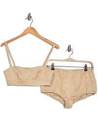 RED Valentino Tonal Print Bralette & Shorts 2-piece Set - Multicolor