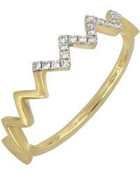 Bony Levy - 18k Yellow Gold Zigzag Diamond Stack Ring - 0.09 Ctw - Lyst