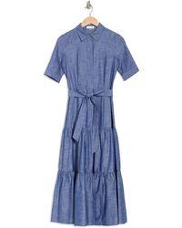 Calvin Klein Tiered Waist Tie Maxi Shirt Dress - Blue