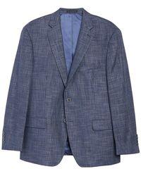 Hart Schaffner Marx Medium Blue Solid Two Button Notch Lapel New York Fit Sport Coat