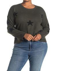 Sweet Romeo Star Intarsia Pullover Sweater - Black