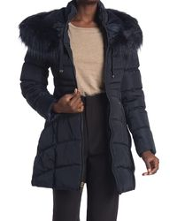 Laundry by Shelli Segal Faux Fur Trimmed Hooded Puffer Jacket - Blue