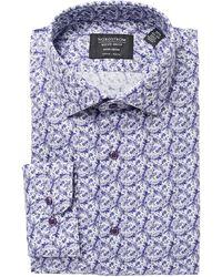 Nordstrom Nordstrom Trim Fit Floral Non-iron Dress Shirt - Purple