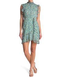 Sam Edelman High Neck Ruched Dress - Blue