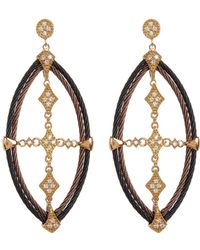 Alor - 18k Yellow Gold, Stainless Steel, Black & Bronze Pvd Diamond Cross Drop Earrings - 0.44 Ctw - Lyst