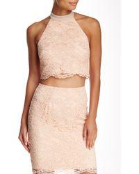 ABS By Allen Schwartz Guipure Lace Crop Top - Pink