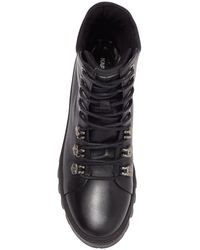 Karl Lagerfeld Leather Lug Sole Combat Boot - Black