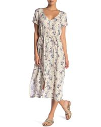 O'neill Sportswear - Amour Short Sleeve Waist-tie Floral Midi Dress - Lyst