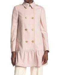 RED Valentino Wool Blend Ruffle Hem Coat - Pink