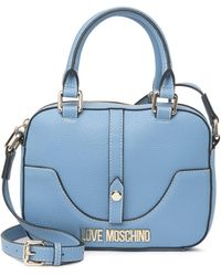 Love Moschino Borsa Azzurro Pebbled Satchel Bag - Blue