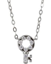 Nadri - Rhodium Plated Brass Cz Key Pendant Necklace - Lyst