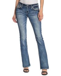Rock Revival Randi Topstitched Bootcut Jeans - Blue
