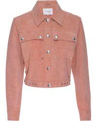 FRAME Moto Suede Jacket - Pink