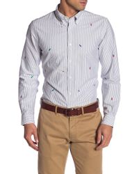 Brooks Brothers - Holiday Lights Embroidered Striped Regent Fit Oxford Sport Shirt - Lyst