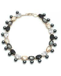 Carolee Multicolor Cz Stone & Freshwater Pearl Collar Toggle Necklace - Metallic