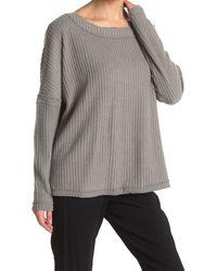 Heather by Bordeaux Boxy Waffle Knit Long Sleeve - Gray