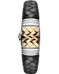 Fendi - Women's Spy Black Leather Stainless Steel And Gold Watch, 37.15mm X 20.35mm - Lyst