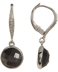 Judith Jack - Sterling Silver Bezel Set Faceted Black Swarovski Crystal Drop Earrings - Lyst