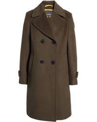 Sam Edelman Double Breasted Wool Blend Twill Coat - Green