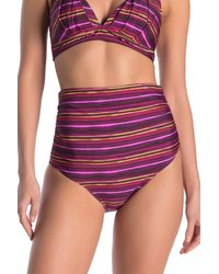 Athena Tropical Stripe Ultra High Waist Bikini Bottoms - Purple