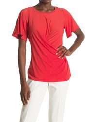 Chaus Flutter Sleeve Wrap Top - Red
