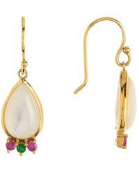 Ippolita - 18k Gold Prisma Mother-of-pearl, Pink Sapphire & Tsavorite Mini Teardrop Earrings - Lyst