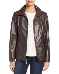 Ellen Tracy - Stand Collar Leather Jacket - Lyst