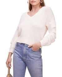 Astr Ruched Long Sleeve Sweater - White