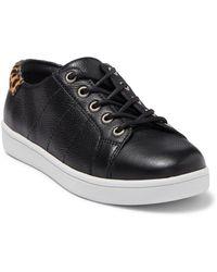 PAIGE Ava Leather & Genuine Calf Hair Sneaker - Black