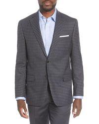 Hart Schaffner Marx Classic Fit Plaid Wool Sport Coat - Gray