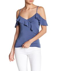 1a6e617c786f4 Lyst - Bobeau Ruffled Floral Cold Shoulder Blouse in Blue