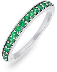 Bony Levy - 18k White Gold Channel Set Emerald Band - Lyst