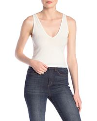 Love, Fire Double V-neck Ribbed Tank Top - White