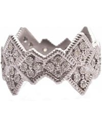 Armenta New World Sterling Silver Wide Cravelli Diamond Stack Band Ring - Size 6.5 - 0.26 Ctw - Metallic