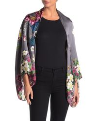 Ted Baker Melisa Oracle Floral Print Silk Cape Scarf - Gray