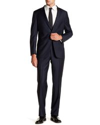 Hickey Freeman - Navy Two Button Notch Lapel Wool Suit - Lyst