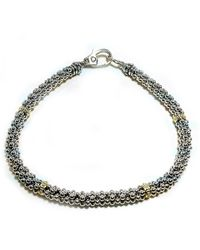Lagos Sterling Silver & 18k Gold Caviar Rope Bracelet - Metallic