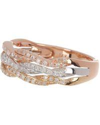 Effy 14k Tri-tone Gold Diamond Pave Braided Ring - 0.34 Ctw - Size 7 - Metallic