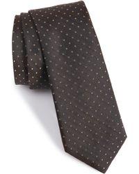 Calibrate Dot Silk Tie - Brown