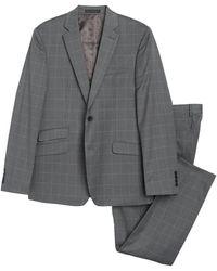 Perry Ellis Medium Gray Plaid Two Button Notch Lapel Suit