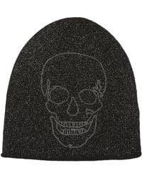 Skull Cashmere - Skull Outline Cashmere Blend Metallic Beanie - Lyst