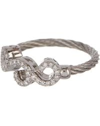 Alor - 18k White Gold & Stainless Steel Cable Diamond Filigree Ring - Size 6.5 - 0.15 Ctw - Lyst