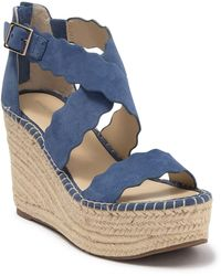 Marc Fisher Scalloped Strappy Espadrille Wedge - Blue