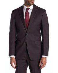 Calvin Klein Slim Fit Stretch Burgundy Neat Suit Separate Jacket - Multicolour