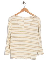 Lush Striped V-neck Top - Natural
